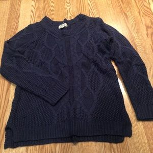 Warm comfortable navy blue crew sweater